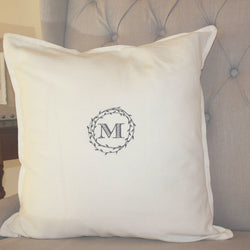 Branch Wreath Custom Monogram Pillow - 9 Colors