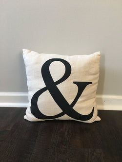 Burlap Ampersand Pillow Cover