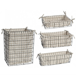 Checked Linen Baskets Set of 4
