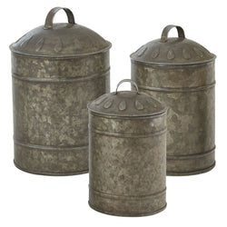 Rustic metal Chicken Waterer Canister Set
