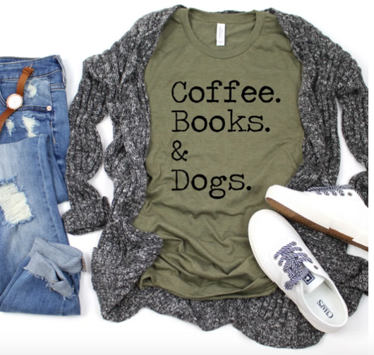 Coffee Books & Dogs T-Shirt