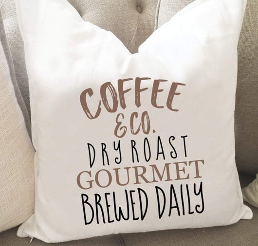 Coffee Brewed Daily Throw Pillow Cover