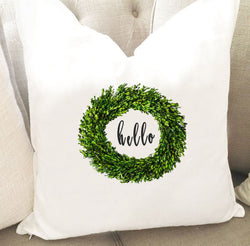 Cotton Boxwood Wreath hello Throw Pillow Cover