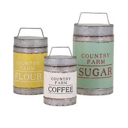 Country Farm Lidded Metal Canisters - Set of 3