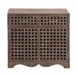 Cross Hatch Wood Cabinet