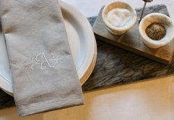 Custom Linen Monogram Napkins, Set of 4