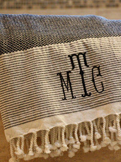 Custom Turkish Bath or Beach towel - Plain or Monogram available