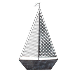 Distressed Blue  Black Iron Hanging Sailboat