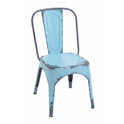 Distressed Blue Metal Farmhouse Chair