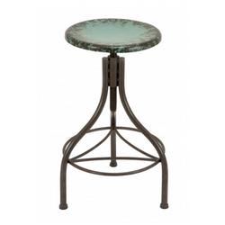 Distressed Metal Bar Stool - Blue