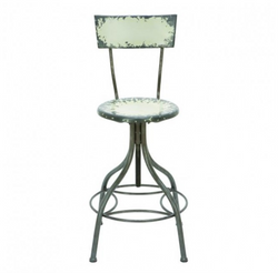 Distressed Metal Bar Stool