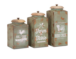 Distressed Mint Green Farmhouse Lidded Canisters - Set of 3