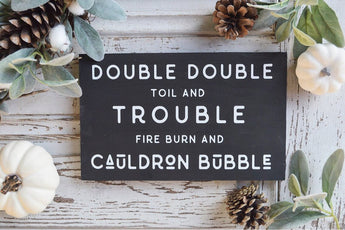 Double Double Halloween Wood Sign
