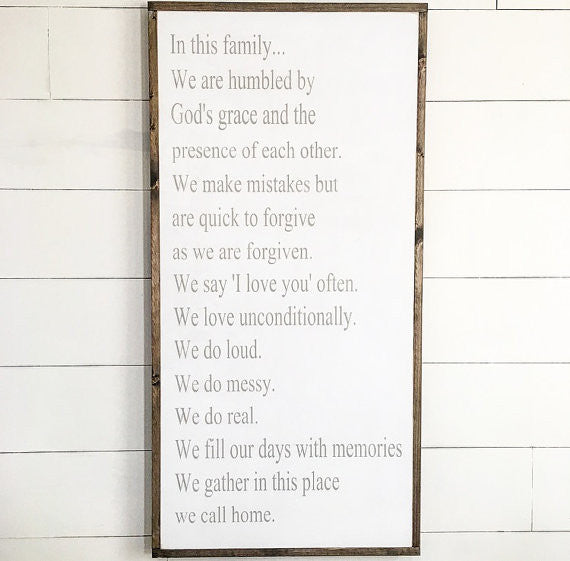 Lovely Family Rules Sign - Vertical – Modern Rustic Home BV83