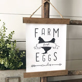 """Farm Fresh Eggs"" Hanging rustic farmhouse decor Canvas Poster"