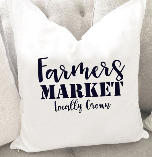 Farmers Market Throw Pillow Cover