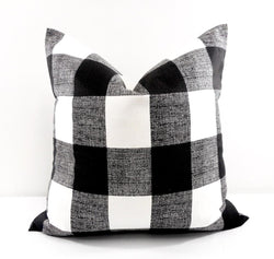 Farmhouse Decor Black Check Pillow Cover