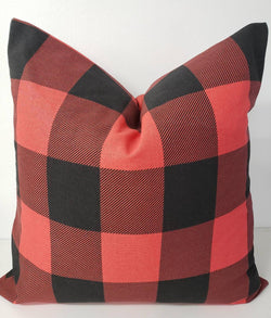 Farmhouse Decor Buffalo Check Red and Black Pillow Cover