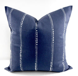 Vintage Farmhouse Carlo Vintage Indigo Blue Stripe pillow cover