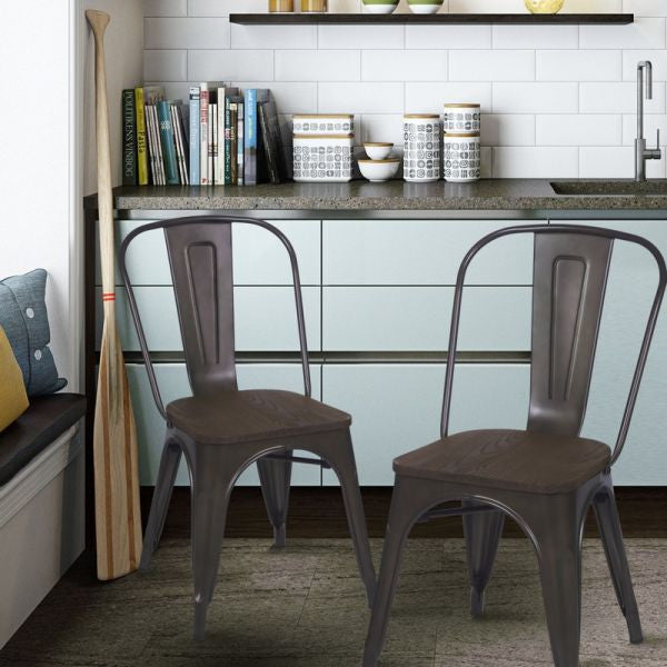 Farmhouse industrial bronze metal dining chairs with for Modern farmhouse dining chairs