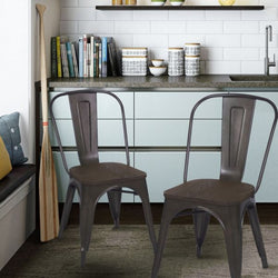 farmhouse industrial bronze metal dining chairs with wooden seat set of two