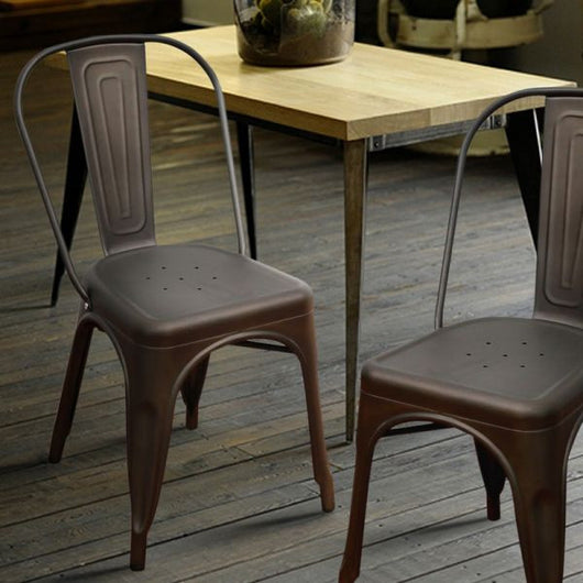 Farmhouse Industrial Bronze Metal Stackable Dining Chairs