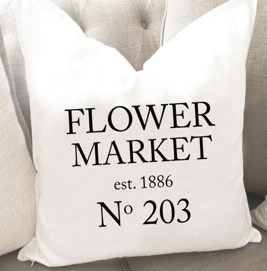 Flower Market Throw Pillow Cover