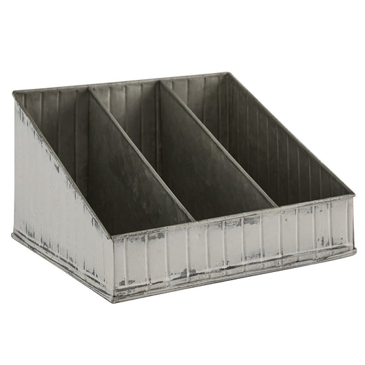 Distressed white industrial fluted organizer