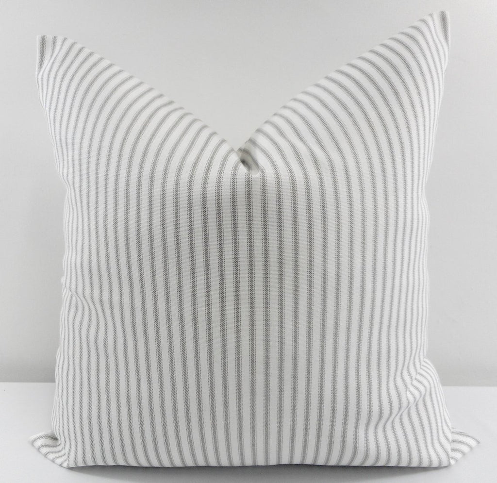 a8a29dfde75c French Gray Farmhouse Ticking Stripe Pillow Cover – Modern Rustic Home