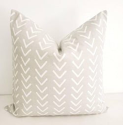 French Grey Boho Print Pillow Cover Farmhouse Decor