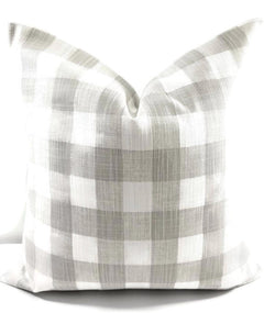 Farmhouse French Grey Buffalo Plaid Print Pillow Cover