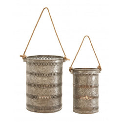 Galvanized Antiqued Metal Lanterns