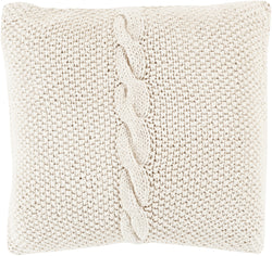 Genevieve Cable Knit Throw Pillow - Ivory