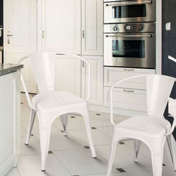 Glossy White Metal Farmhouse Stacking Dining Chairs (Set Of 2)