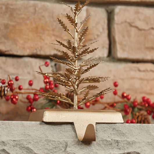 Cute Gold Metal Holiday Tree Stocking Hanger