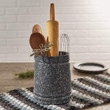 Gray and White Granite Enamelware Kitchen Crock