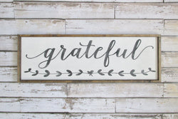 Grateful Rustic Farmhouse Sign