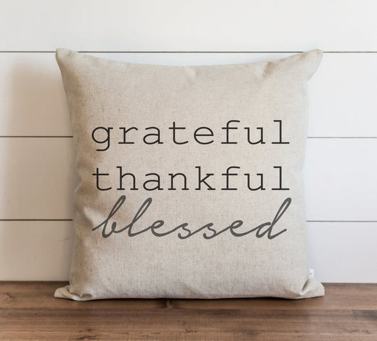 Fall Pillow Cover Grateful Thankful Blessed