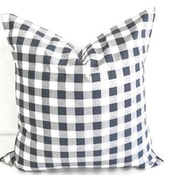 Gunmetal Grey & White Plaid Pillow cover Farmhouse Decor