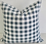 Gunmetal Grey & White Plaid Farmhouse Pillow Sham