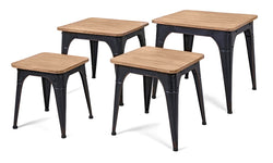 Harlow Wood and Metal Nesting Display Tables/Stools - Set of 4