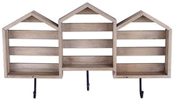 Harper Wood Wall Shelf With Hooks