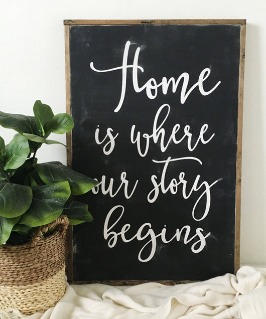 Home Is Where Our Story Begins Oversized Sign White Or