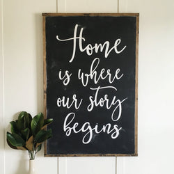 Home Is WhereOur Story Begins Sign