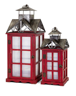 Homestead Christmas Red Barn Lanterns - Set of 2