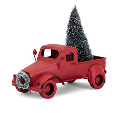 Homestead Christmas Red Farm Truck with Tree and Wreath
