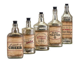 Homestead Christmas Vintage Label Glass Bottles - Set of 5