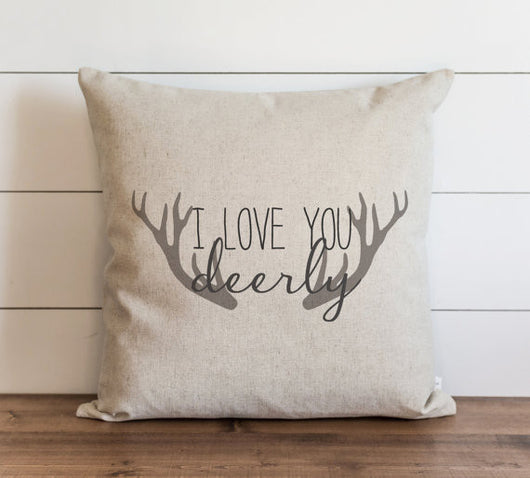 I Love You Deerly Antlers 20 X 20 Pillow Cover Modern Rustic Home
