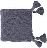 India Tassel Throw Blanket - Blue Grey