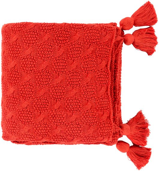 India Tassel Throw Blanket - Red Orange